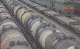 Railroad scene with locomotive and cargo trains